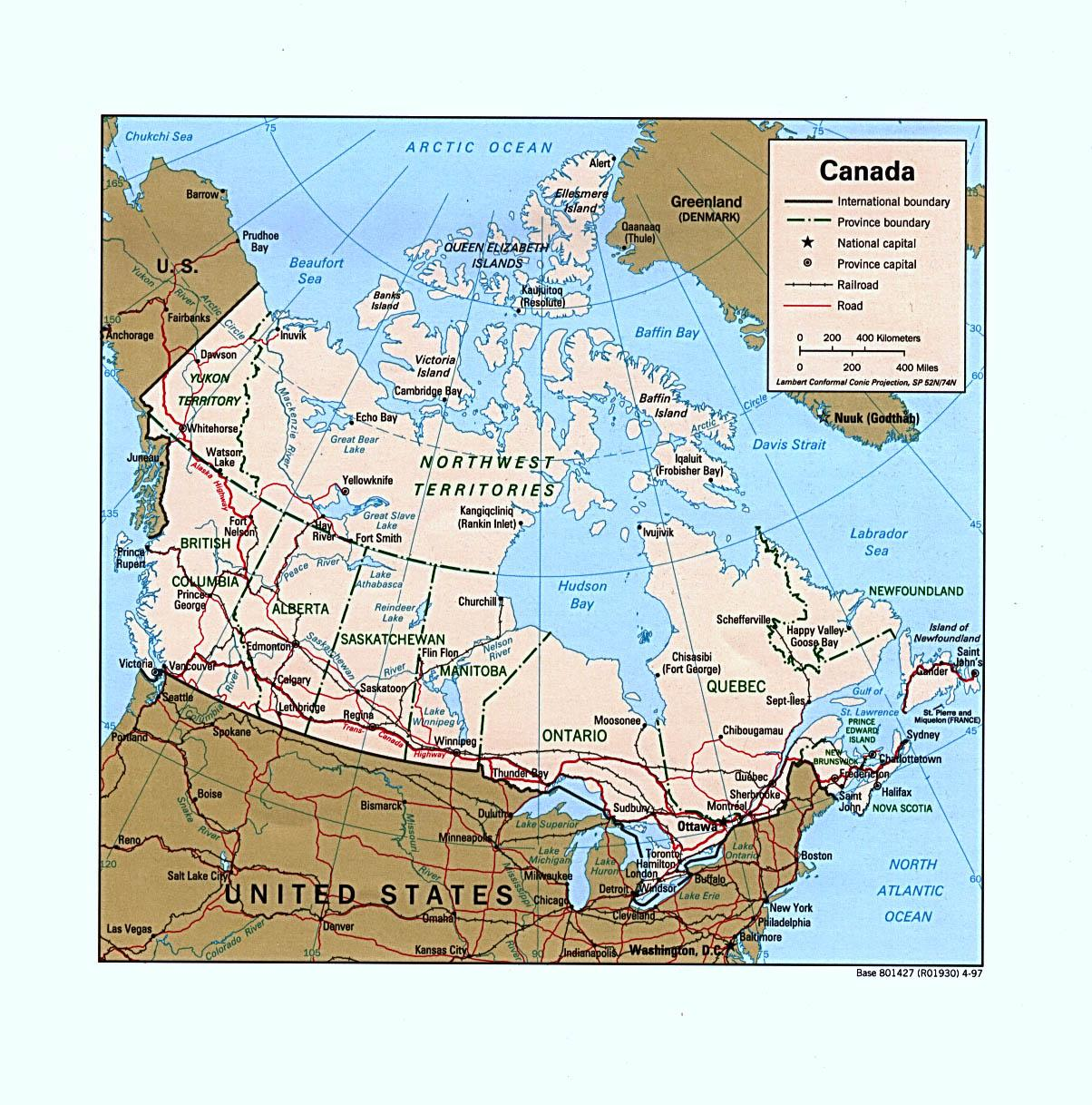 Mapa De Carreteras Del Oeste De Canada Mapa De Canada Occidental